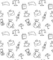 White seamless pattern with business symbols.