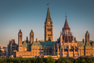 OTTAWA, ONTARIO / CANADA - JUNE 16 2018: OTTAWA PARLIAMENT BUILDINGS VIEW ON SUMMER DAY