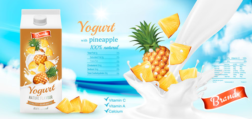 White yogurt with fresh pineapple in box. Advertisment design template. Vector
