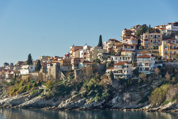 Panoramic view of Aegean sea and olt town of Kavala, East Macedonia and Thrace, Greece