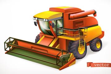 Combine harvester 3d realistic vector icon