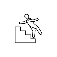 fall from the stairs line icon. Element of insurance sign for mobile concept and web apps. Thin line fall from the stairs icon can be used for web and mobile. Premium icon