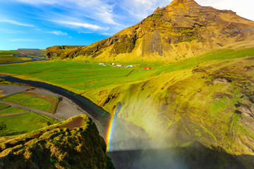 Beautiful Icelandic mountains with a waterfall