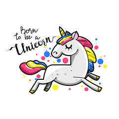 Cute magic unicorn. Romantic card with unicorn. Hand drawn vector rector style illustration.