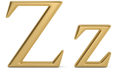 Gold metal z alphabet isolated on white background 3D illustration.
