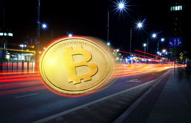Concept of Bitcoin  moving fast  on the road, a Cryptocurrency blockchain platform , Digital money