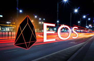 Concept of EOS coin moving fast  on the road, a Cryptocurrency blockchain platform , Digital moneyConcept of EOS coin moving fast  on the road, a Cryptocurrency blockchain platform , Digital money