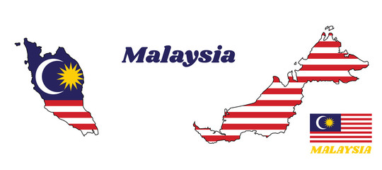 Map outline and flag of Malaysian in blue red white and yellow color with yellow star and white Crescent moon with name text of Malaysia.