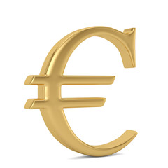 Golden Euro sign on steel podium. 3D illustration.
