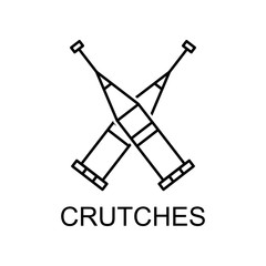 crutches line icon. Element of medicine icon with name for mobile concept and web apps. Thin line crutches icon can be used for web and mobile
