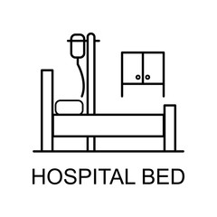 hospital bed line icon. Element of medicine icon with name for mobile concept and web apps. Thin line hospital bed icon can be used for web and mobile