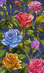 Floral Background, Colorful Rose and Flowers. Mobile Phone Case Cover, Creative Illustration and Innovative Art. Realistic Fantastic Cartoon Style Artwork Scene, Wallpaper, Story Background.