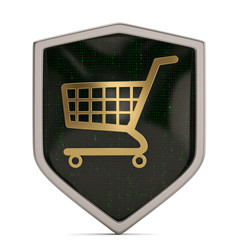 E-shopping security concept shopping cart symbol on white background. 3D illustration.