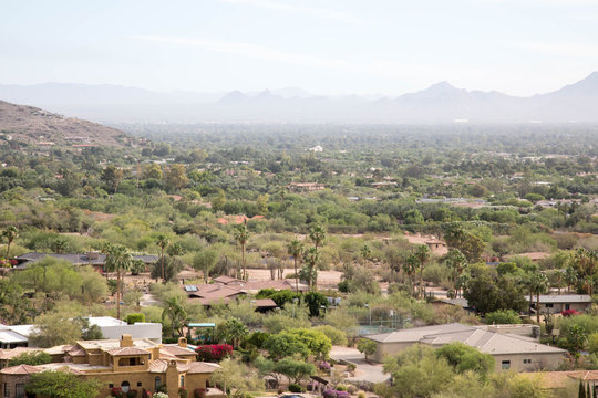 Scottsdale, Arizona with the outline of mountains