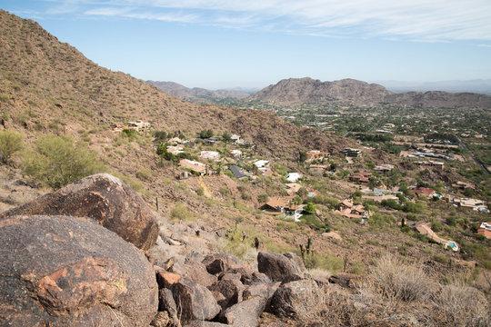 Black boulders and homes in Scottsdale, Arizona