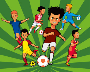 Painted boys football players in different shapes and different poses. Set. Vector graphics