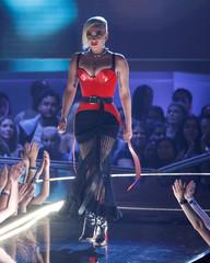 Singer Lady Gaga takes the stage at the 2018 MTV Movie & TV Awards at Barker Hangar in Santa Monica