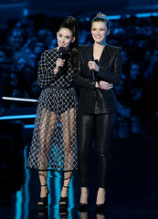 Actors Brie and Gilpin speak at the 2018 MTV Movie & TV Awards at Barker Hangar in Santa Monica