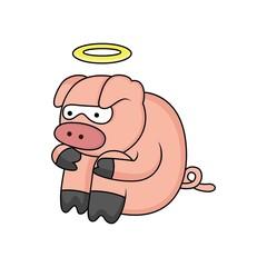 cartoon fairy pig is sad