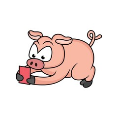 cartoon expression of a pig is holding a red card