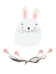 isolated cute kiddie color pencil hand drawn greeting card with adorable white bunny and floral wreath border. clip art raster artwork with floral doodles and animal character for kids room decoration