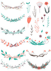 isolated cute hand drawn with color pencils floral elements for greeting gift cards, invitations, kids room decor, nursery, product design, blogs, fabric, textile, wallpaper and wrapping paper design.