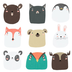 cute kiddie hand drawn animal characters collection - bear, cat, penguin, fox, dog, bunny, panda, bird, deer. adorable cartoon baby animals set for nursery decor, invitations, greeting card, kids room