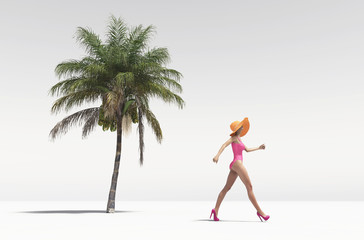 Woman walking for a beach