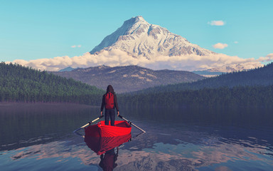 Man sitting on a boat on the mountain lake