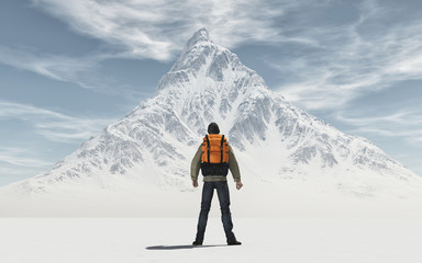 Conceptual image of a man with backpack