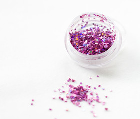 Glitter and sequins for nail design and makeup. decorations for fashion