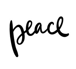 Peace brush calligraphy black ink isolated.