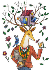watercolor illustration, a deer in a jacket and with a cat in his hands, a birdhouse with birds in deer horns