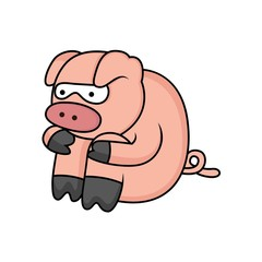 cartoon pig is sad