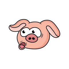 cartoon pig is confused