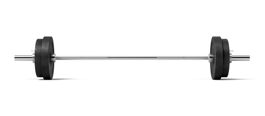 3d rendering of a silver colored metal barbell with several black weight plates on a white background.