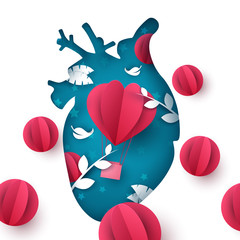 Love balloon landscape. Medical heart illustration. Vector eps 10