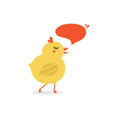 Vector illustration of cute cartoon little chicken character talking, giving advice.