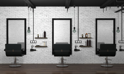 hair salon interior modern style 3d illustration beauty salon white brick wall