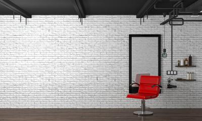 hair salon interior modern style 3d illustration beauty salon red chair,white brick wall