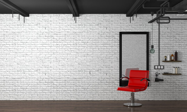 hair salon interior modern style 3d illustration beauty salon red chair,white brick wall