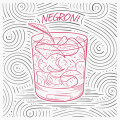 Summer Card With The Lettering - Negroni. Handwritten Swirl Pattern With Cocktail In Glass.