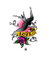 Tattoo Swallows with the inscription Love and a rose bud from below. Vector illustration. Tattoo of an American old school. Bird swift with ribbon and flower. A popular rainbow tattoo.