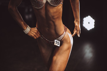 athlete girl bodybuilder posing most muscular bodybuilding competitions