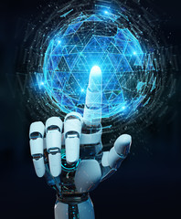 White robot hand using digital triangle exploding sphere hologram 3D rendering