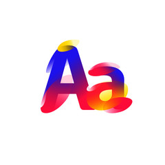 Illustration of the letter A. Gradient flat icon. Letter of the alphabet. Vector illustration. A modern fashionable company logo. Icon isolated on white background. Typography, initials, monogram.