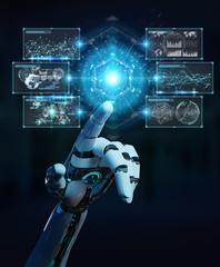 White cyborg hand using digital datas interface 3D rendering