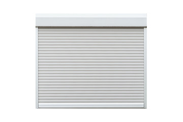 White metal roll shutter window isolated on white background