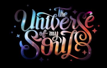Lettering. typography design on Abstract open space background. Starfield, universe, nebula in galaxy. Vector illustration