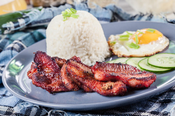 Pork tocino with rice and fried egg